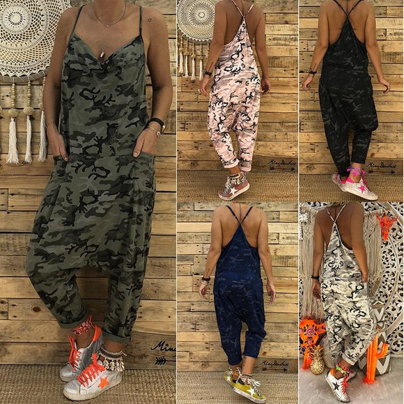 Women's Camouflage V-tie With Pocket Jumpsuit