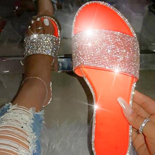 High quality fashion flat bottom outdoor female slippers Sexy wild roman rhinestones comfortable plus size beach women slippers - Asia-Peak