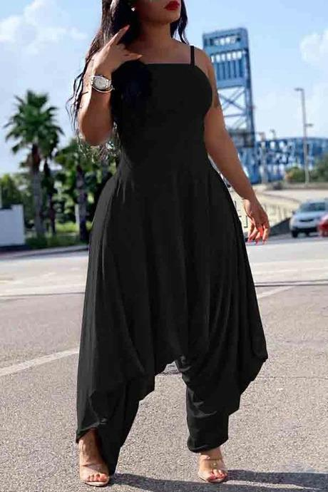 Asia-Peak Solid Colour Suspender Loose Jumpsuit