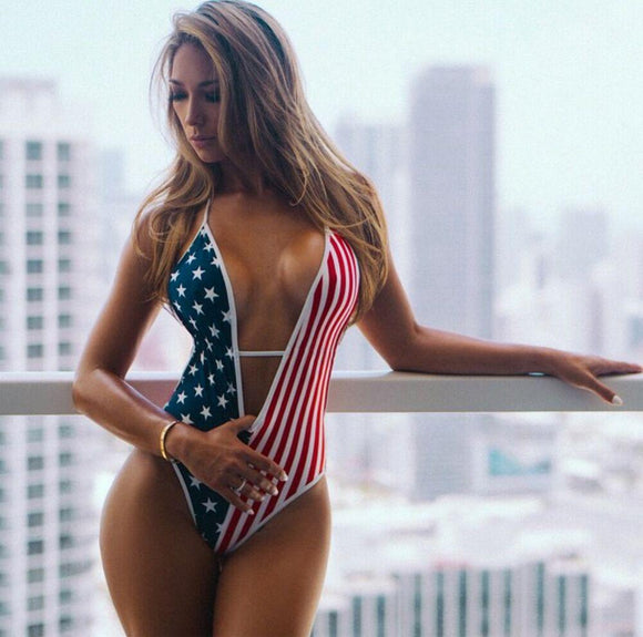 Sexy America Flag One-Peice Swimsuit