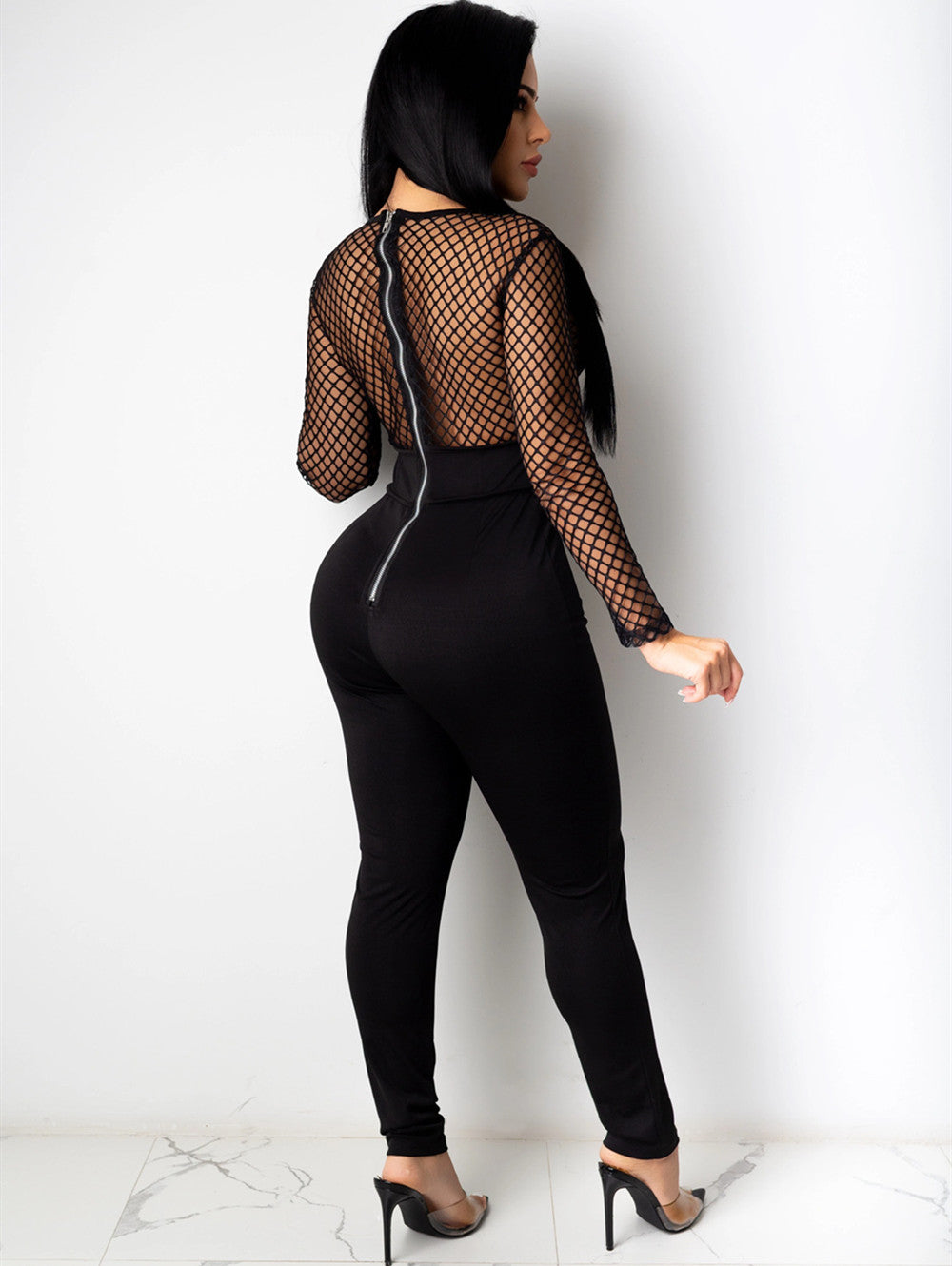 Mesh Stitching Deep V Slim Fit Long Sleeve Jumpsuit