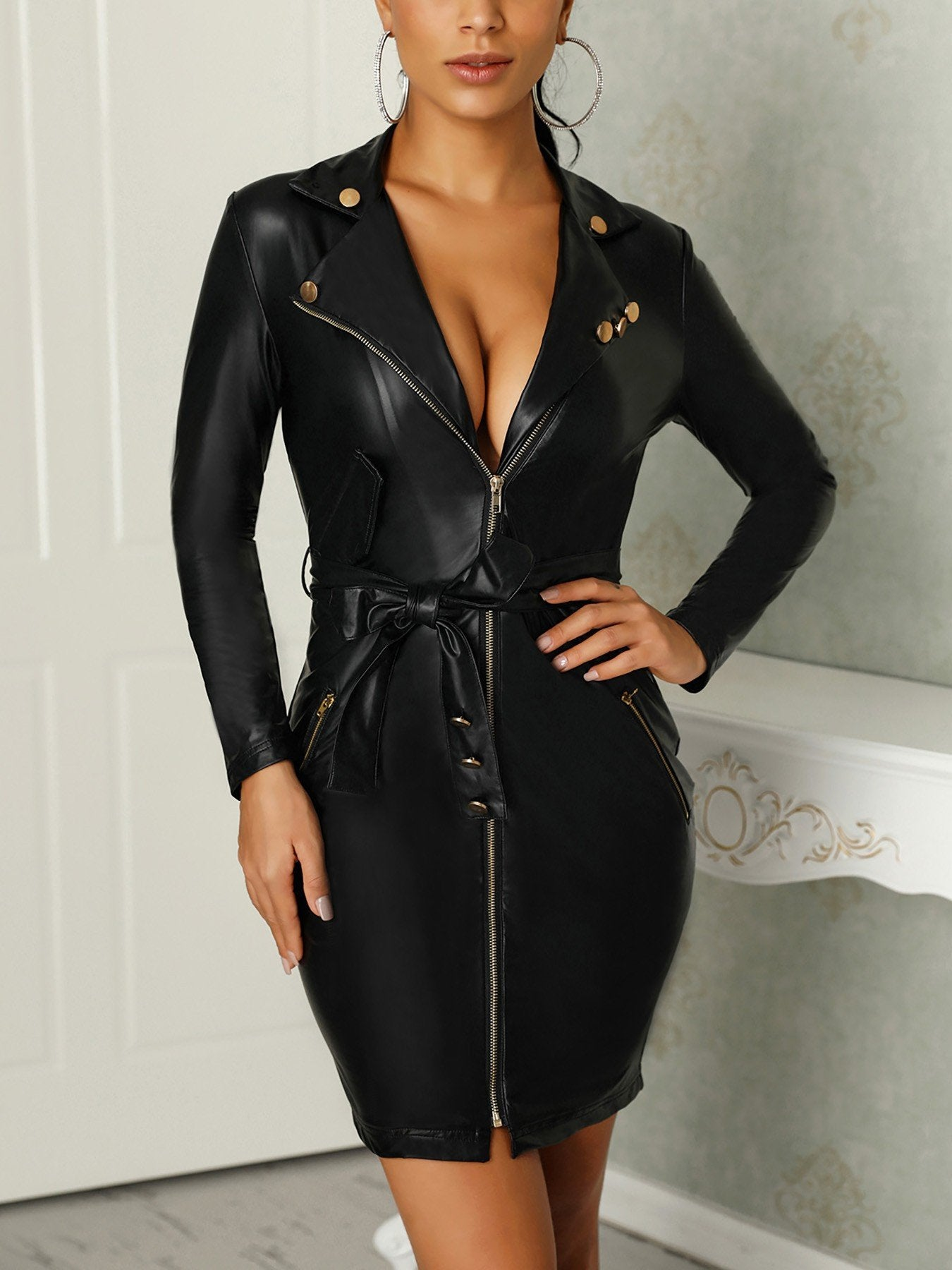 Cool Deep V Neck Package Hip Leather Dress - Asia-Peak