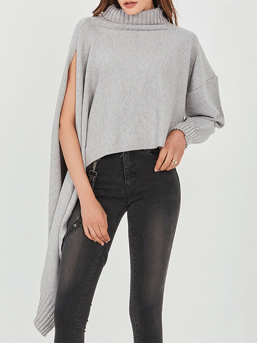 Turtleneck Long Sleeve Slit Irregular Pullover Sweater