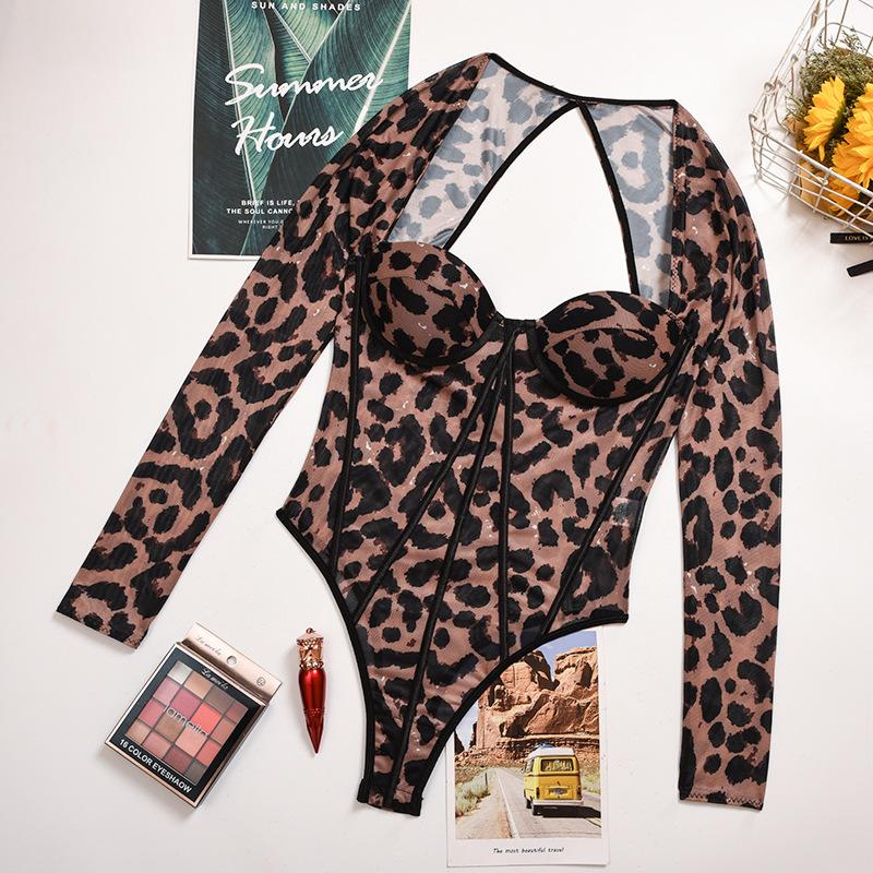 See-through leopard print backless bodysuit - Asia-Peak