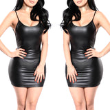 Sexy Faux Leather Dress Backless Short Dress Push Up Bra Mini Micro Dress