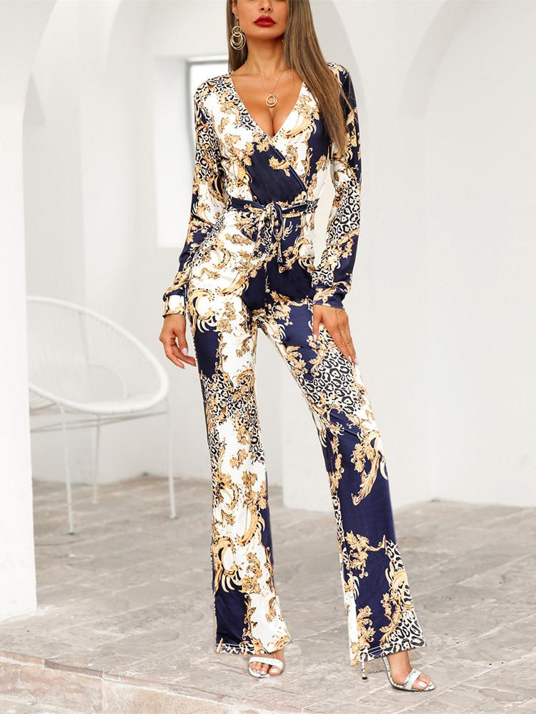 Vintage Blue-gold Printed Jumpsuits
