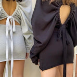 Back drawstring cutout sweater dress - Asia-Peak