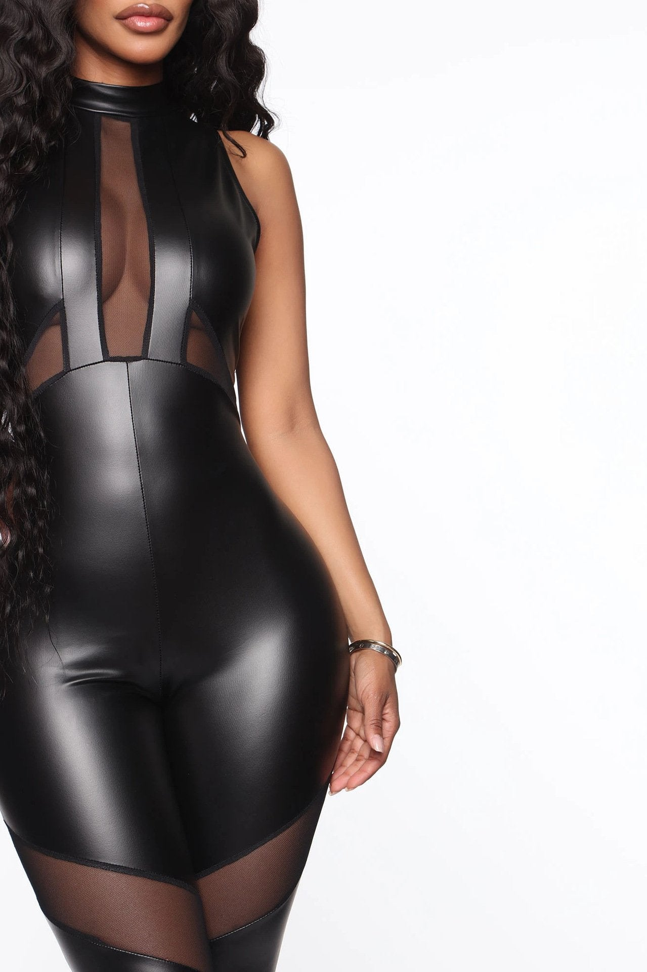 Sleeveless Hollow out Sexy Leather Jumpsuit - Asia-Peak
