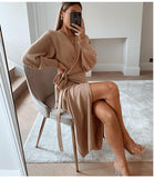 Knitted wrap sweater dress - Asia-Peak