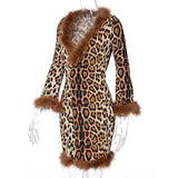 V-neck leopard print Furry short dress