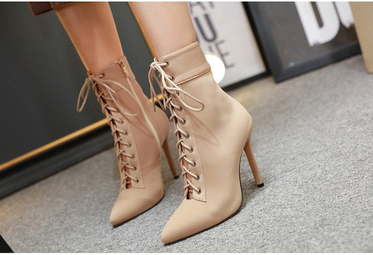 Stretch Fabric Cross strap high heel boots