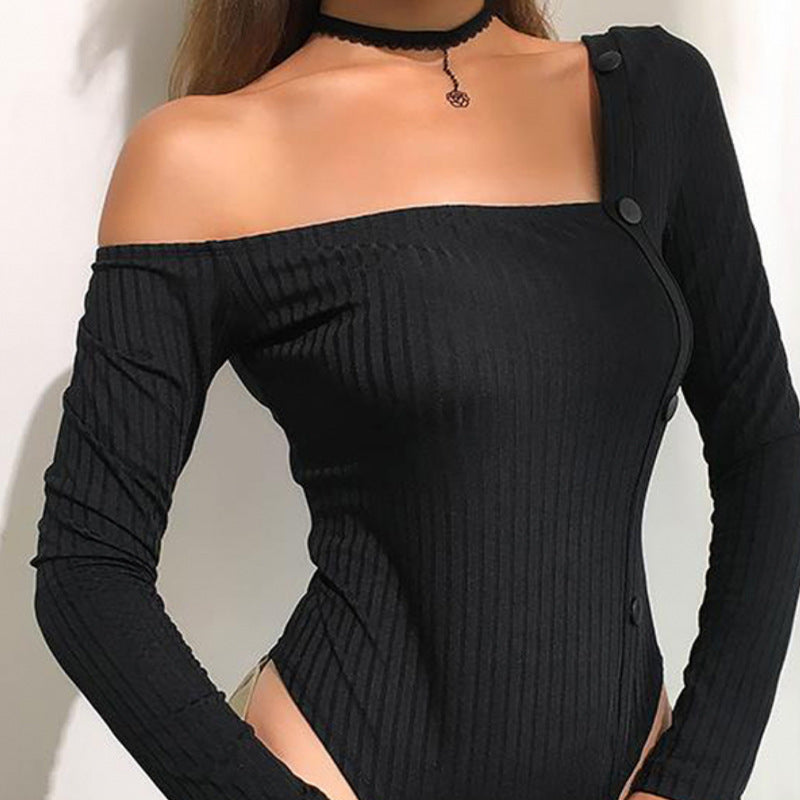 Sexy irregular knitted slim bodysuit