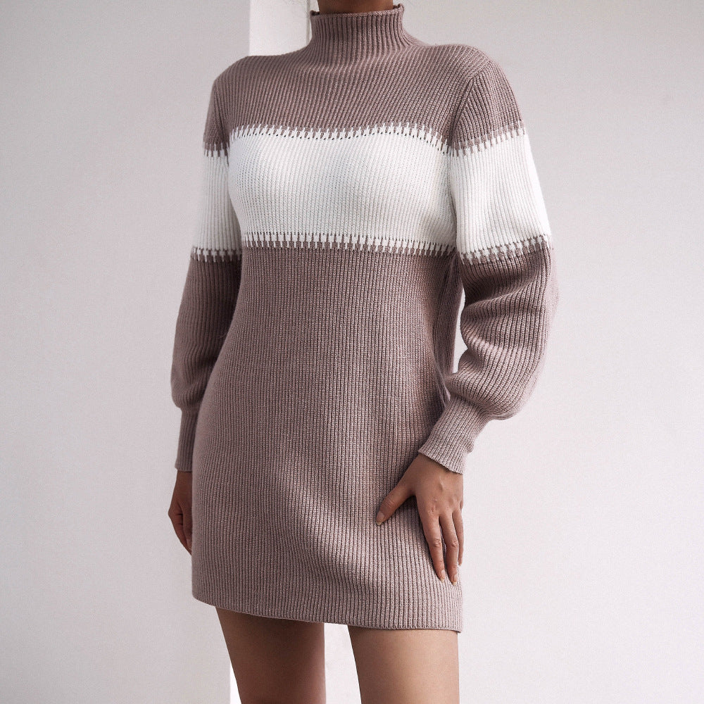 Contrasting colors turtleneck knitted sweater dress