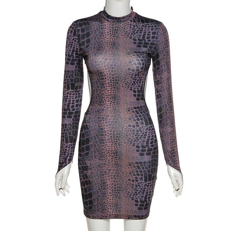 Hollow out snake print mini dress - Asia-Peak