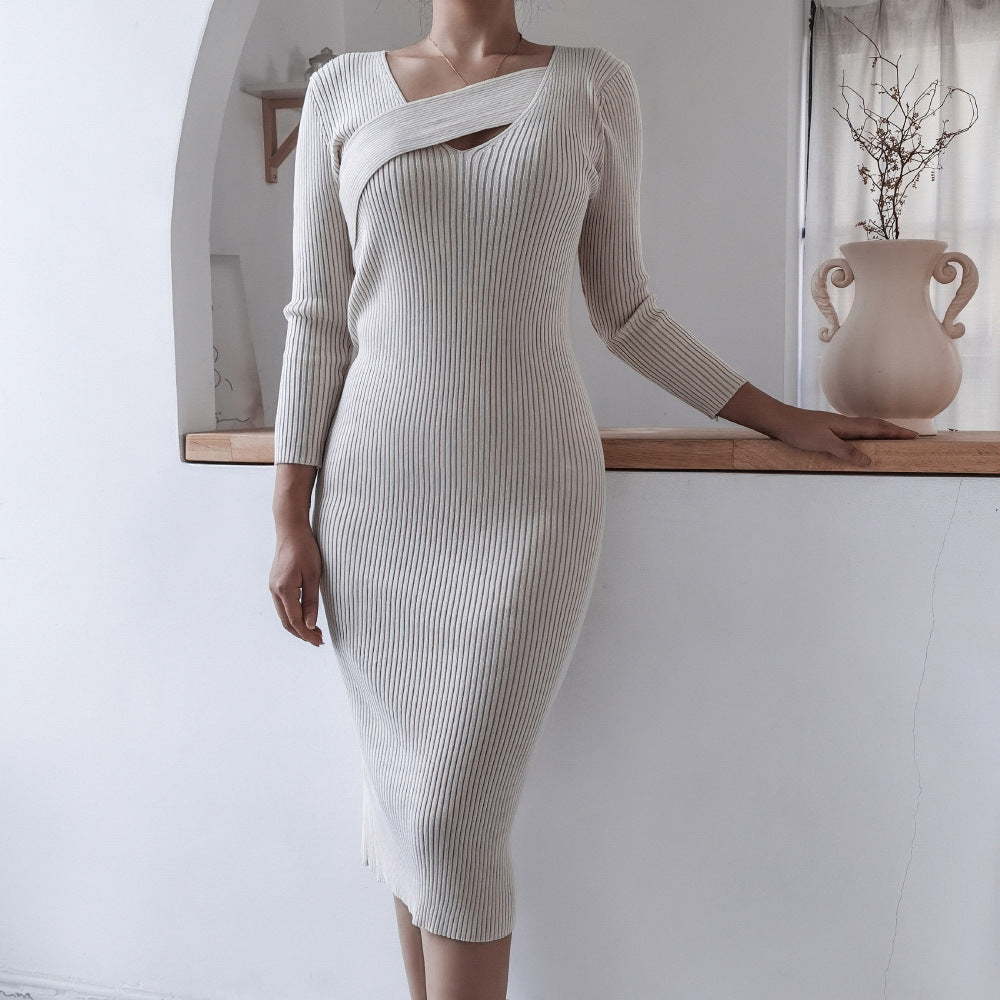 Elegant knitted slim sweater midi dress
