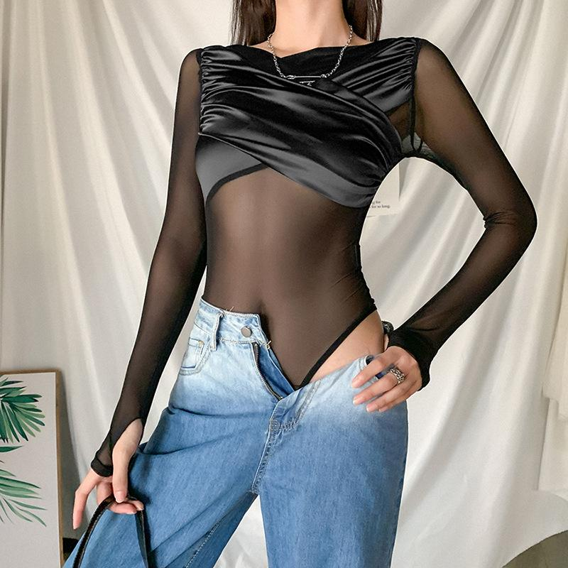 Black see-through silk mesh bodysuit - Asia-Peak