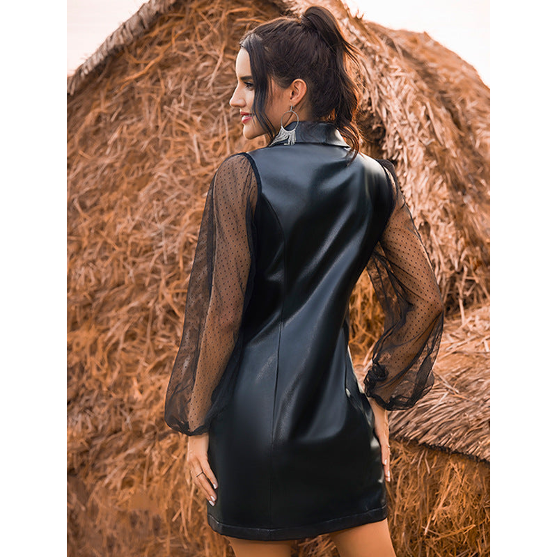 Office Double-breasted mesh stitching pu leather dress