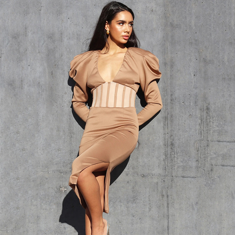Sexy split V-neck long sleeve see-through midi dress