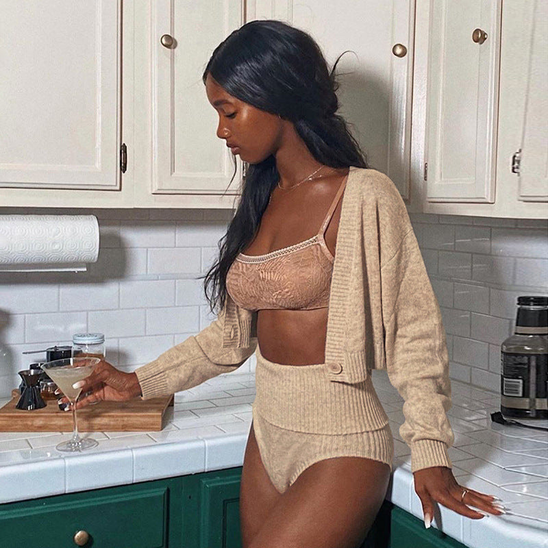 Knitted Sexy Two Piece Outfits Cardigan and Shorts Set