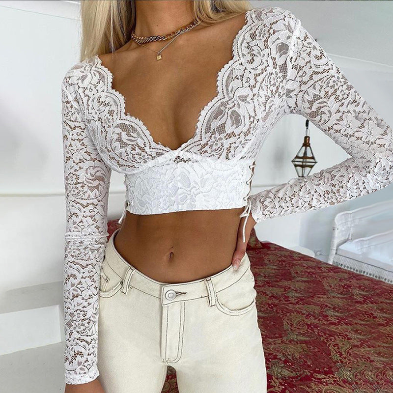 Deep-V Backless Long Sleeve lace Top