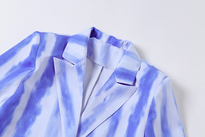 Long Sleeve Tie-dye Casual Blazer