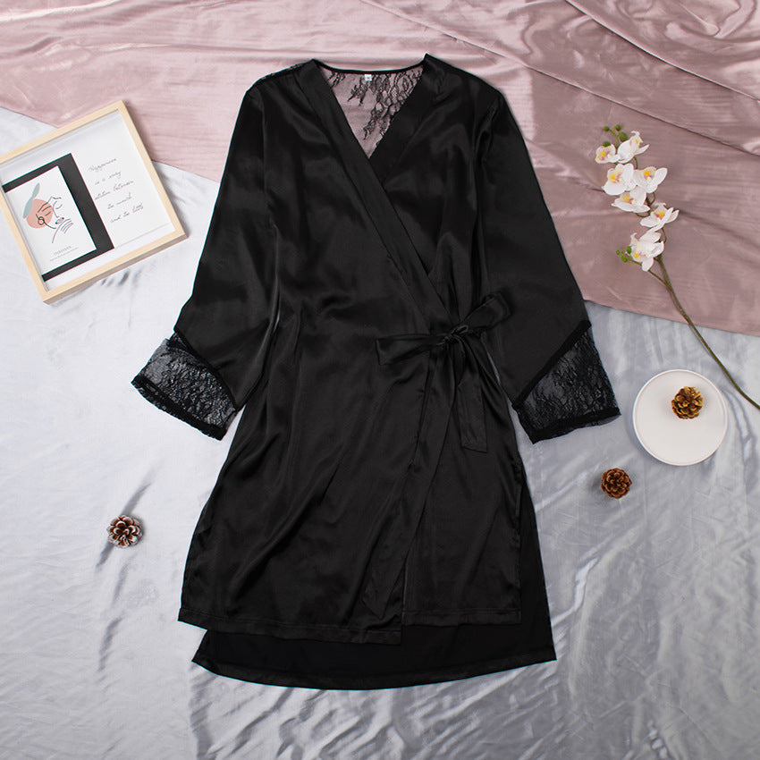 Stitching lace imitation silk cardigan homewear (Belt included)