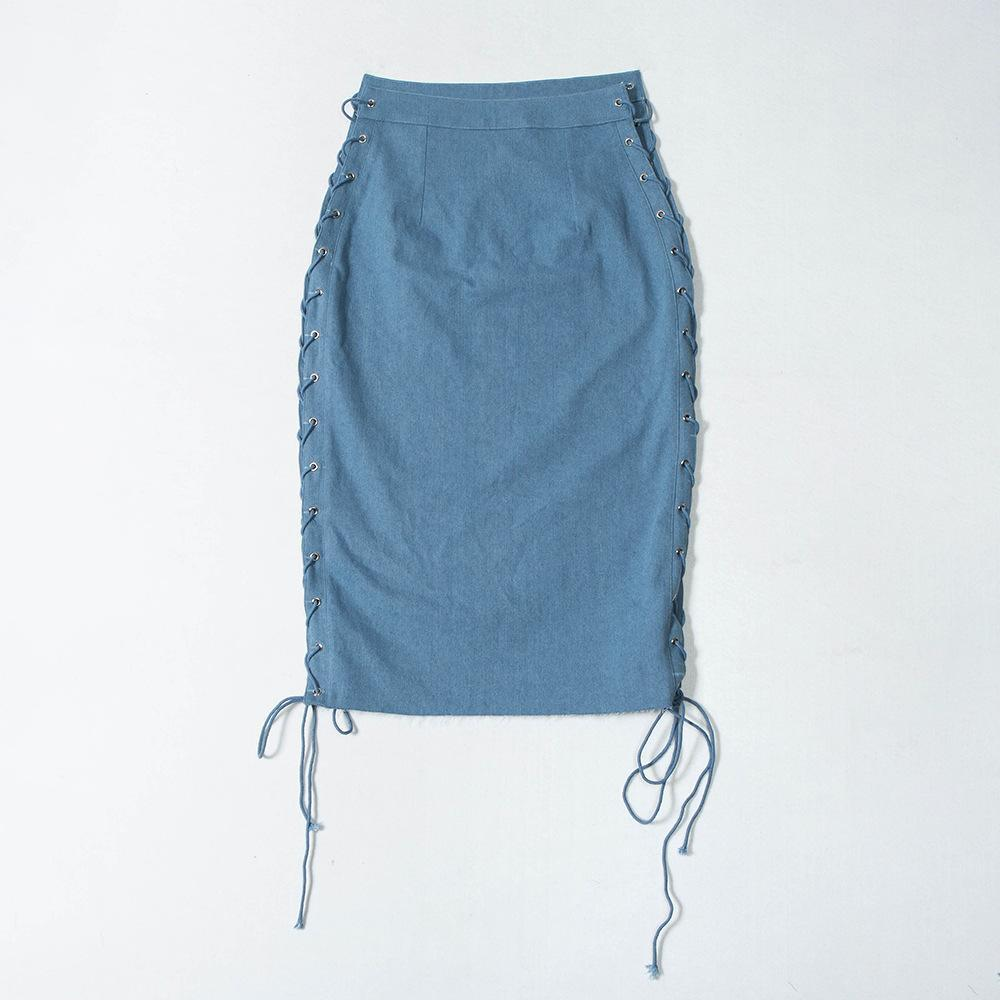 Solid Hollow out Lace up Denim Skirt - Asia-Peak