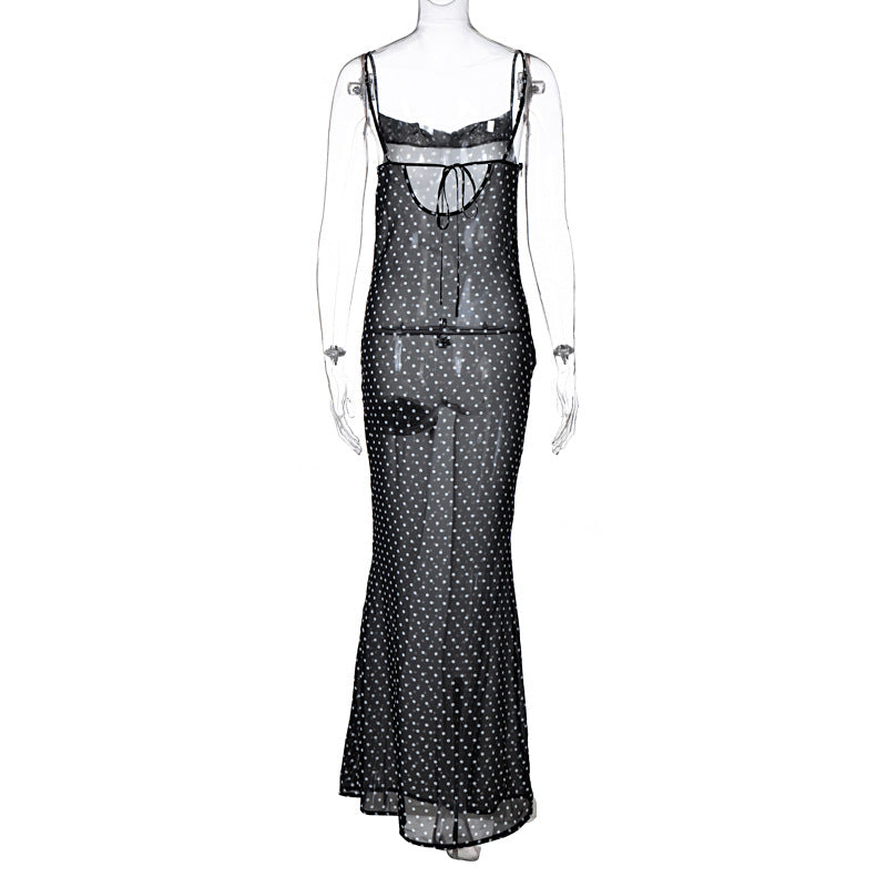 Lace Up Bandage See Through Sheer Streetwear Polka Dot Strap Maxi Dress