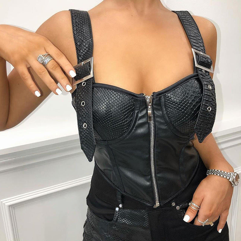 Sexy Vintage Alligator PU Leather Sleeveless Crop Top