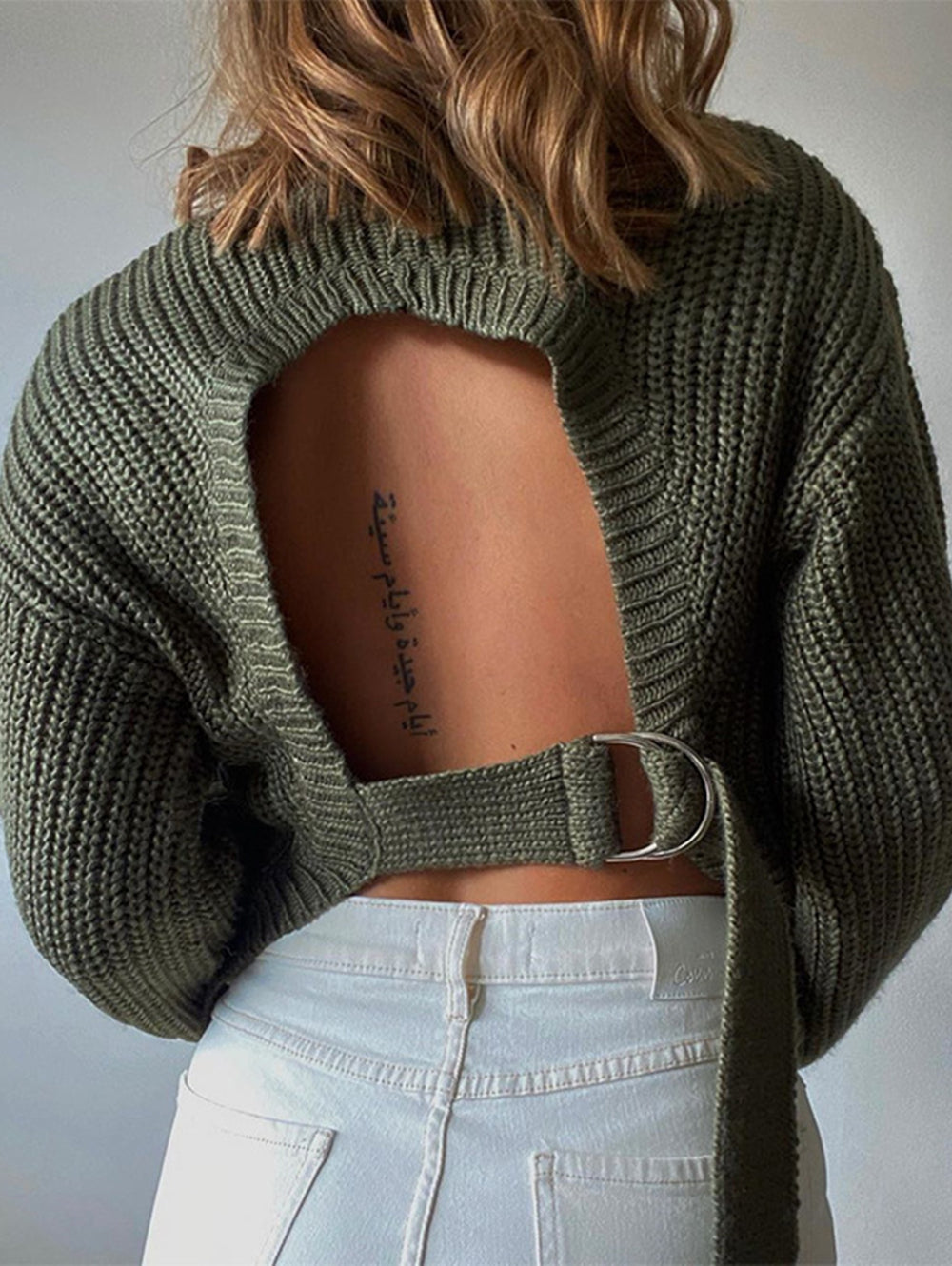 Knit Hollow Sexy Long Sleeve Top
