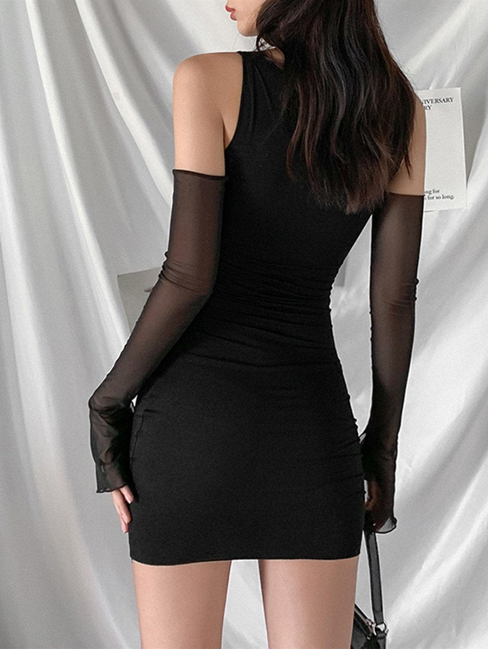V-neck Long Sleeve Hollow Sexy Mini Dress