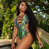 Green Snake Print One-Piece Bikini