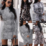 High Neck Snake Print Skinny Dress(4 Types) - Asia-Peak