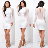 Long Sleeve Bodycon Party Club Short Dress - Asia-Peak