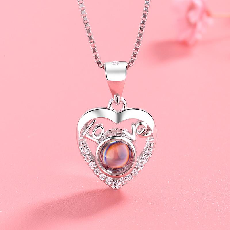 "Creative Projection Necklace Pendant with ""I Love You"" Written in 100 Languages - Asia-Peak"