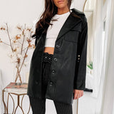 Faux PU Leather Jacket Dress(with free belt)