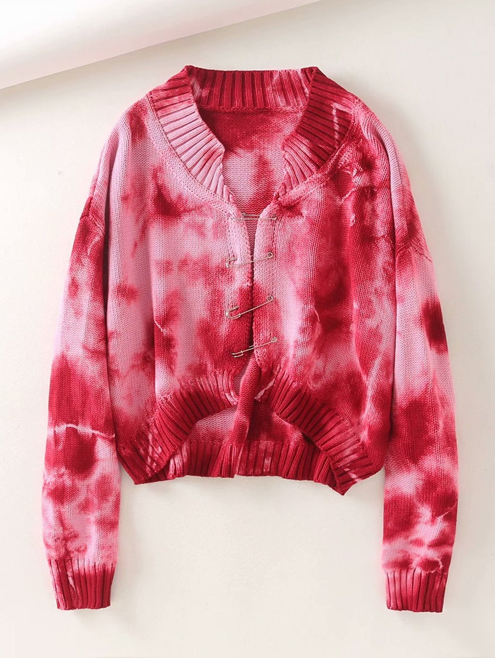 Tie-dye Pin Short-cropped Knitted Cardigan Sweaters