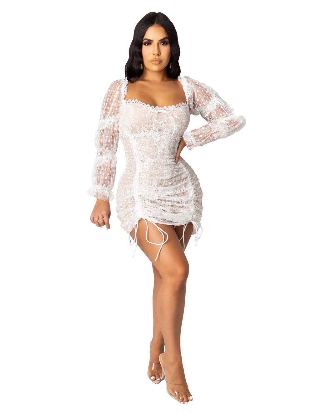 Sexy Tube Top Lace Smocked Rope Mini Dress