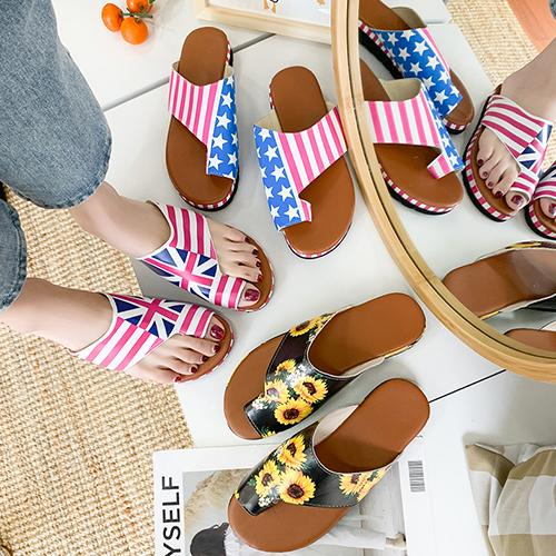 Woman Flower Print Sandals 2020 Women Slippers Sandals Shoes Comfy Platform Flat Sole Slippers Thongs Flip Flop Beach Shoes