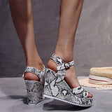 2020 New Thick Sole Gladiator Summer Women Sandals Colorful Wedges White Snake Pattern Ladies High Heels - Asia-Peak