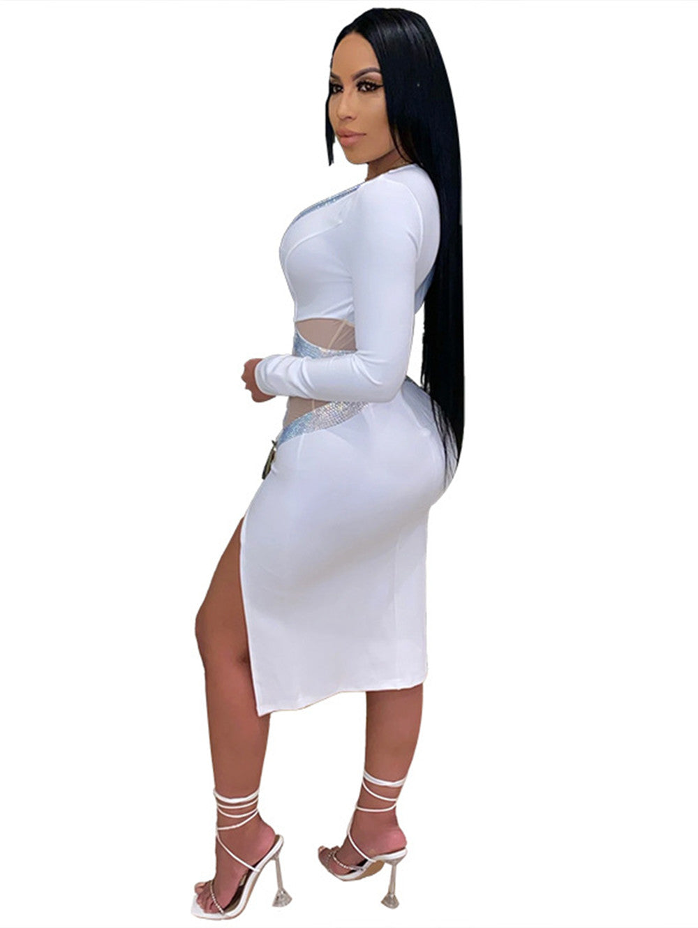 Deep V-neck Net Gauze Hot Drilling Tight Maxi Dress