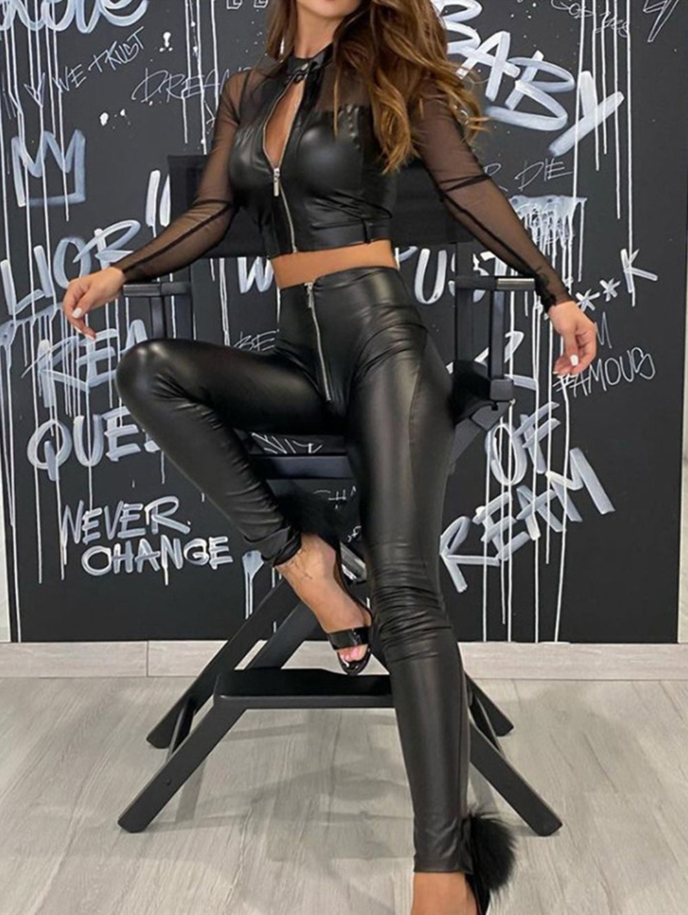 Sexy Mesh Stitching Pu Leather Zipper Jacket&Pants Suit