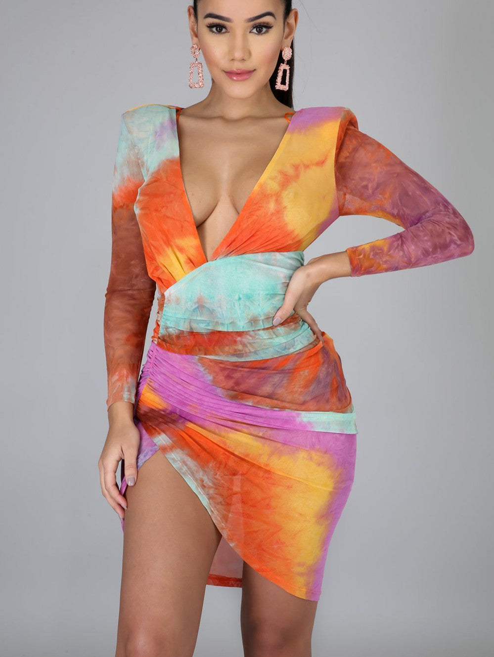 Sexy Tie-dye Deep V Long Sleeve Mini Dress