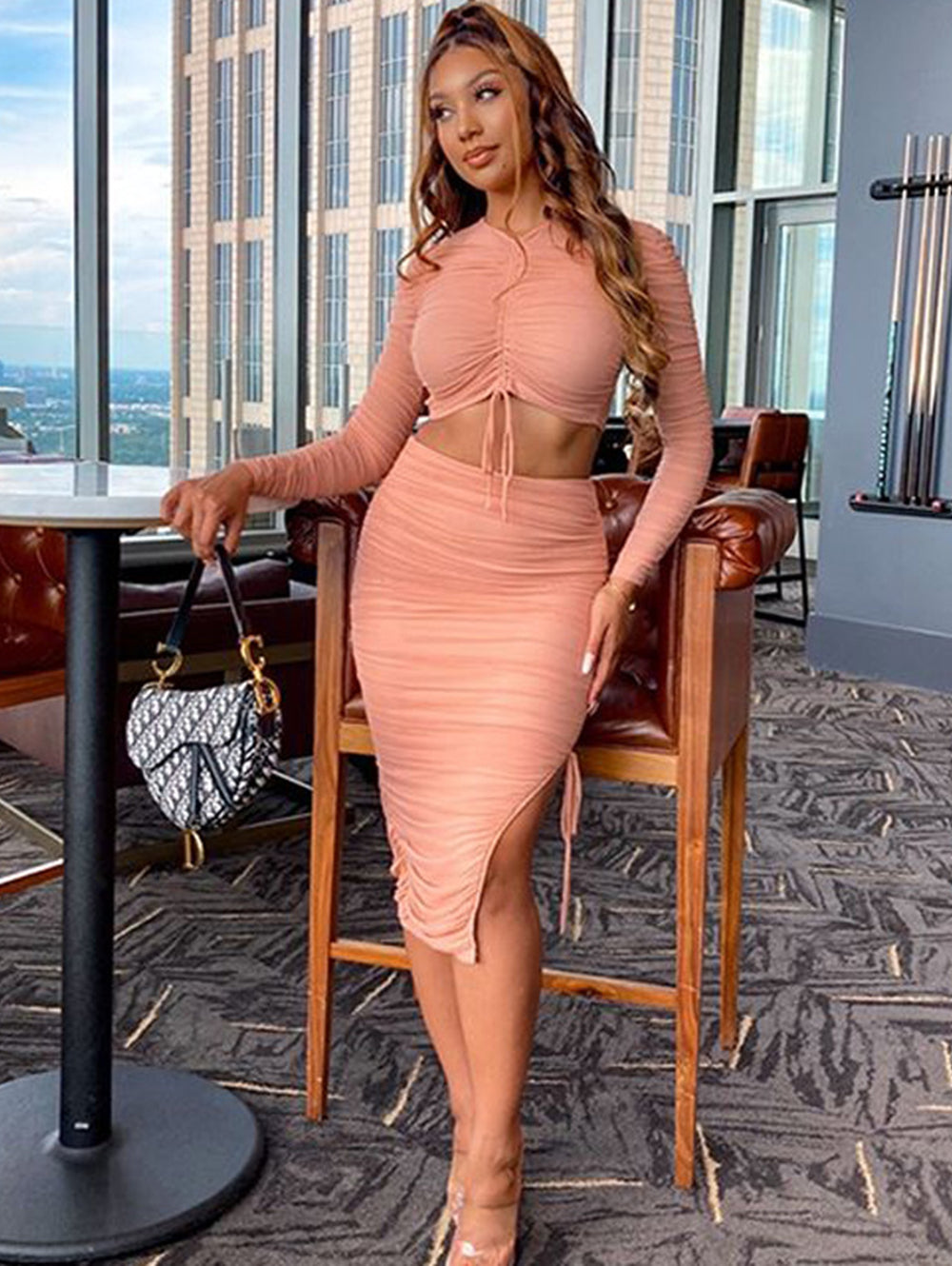 Mesh Drawstring Pleated Sexy Midi Dress Set(2 PCS)