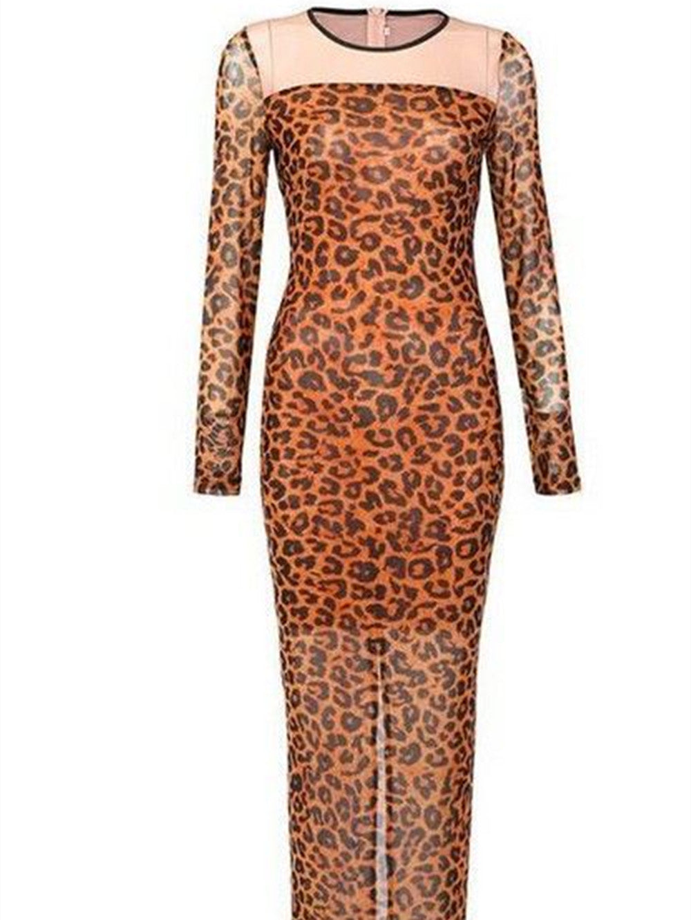 Leopard Print Round Neck Long Sleeve Split Maxi Dress