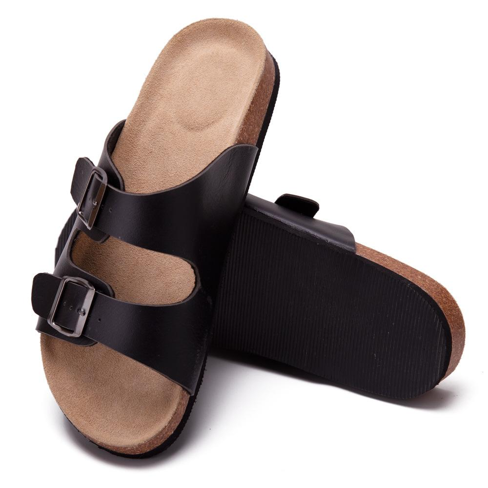 Unisex Leather Non-slip Cork Slippers - Asia-Peak