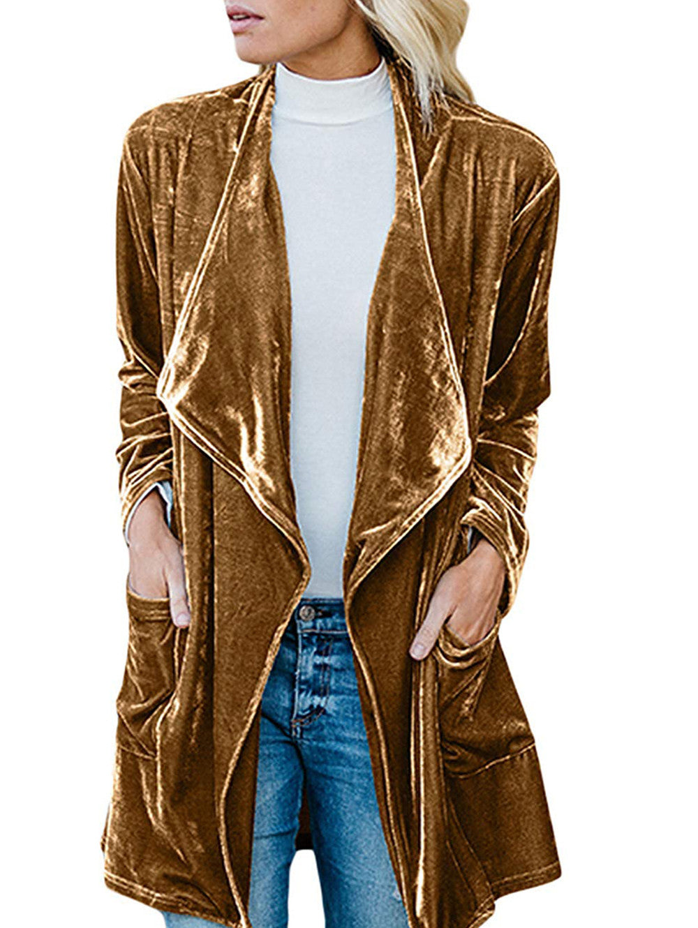 Gold Velvet Mid-length Trench Coat