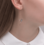 Ladies Elegant Hummingbird Rhinestone Stud Earrings - Asia-Peak