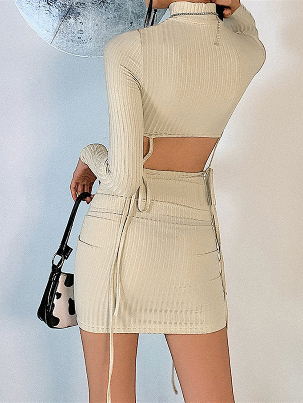 Turtleneck Long-sleeve Sexy Hollow Mini Dress