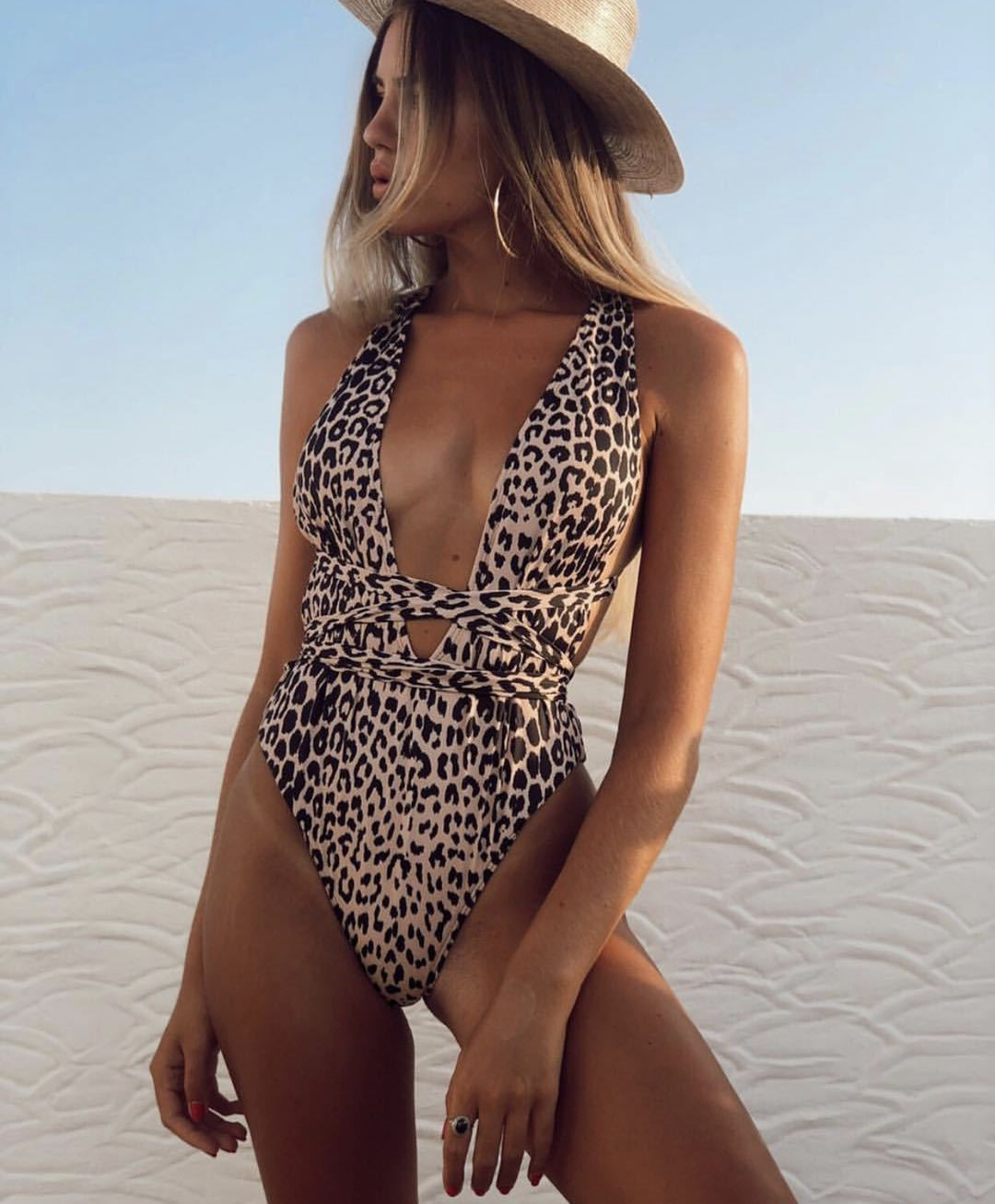 Leopard Print Self Tie One Piece Swimsuit